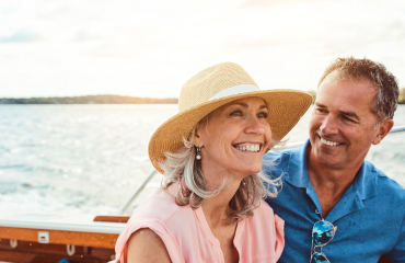 Mature couple on boat