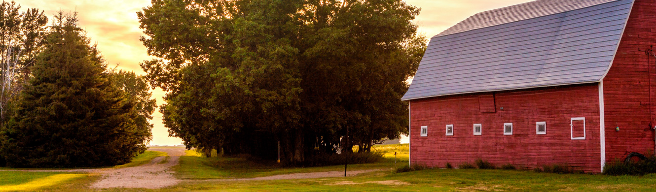A red barn in the country